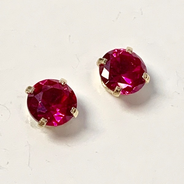 Genuine 14k Yellow Gold Ruby Stud Earrings 550c83d3-633b-4a1a-a6b8-f62215b8699c