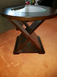 brown wooden framed glass end table  Toronto, M1T 2H3