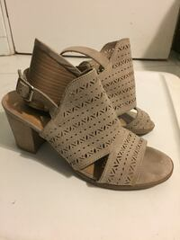 pair of gray open-toe wedge sandals Laie