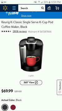 "(Black Keurig) ""K-Class Single Serve  K Cup Pod Coffee Maker"""