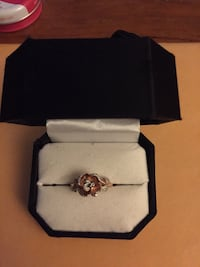 gold-colored clear gemstone encrusted ring with box Kingston, K7K 2H9
