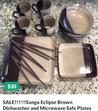 SALE!!!!!!Sango Eclipse Brown Dishwasher and Microwave Safe Plates White Plains, 20695