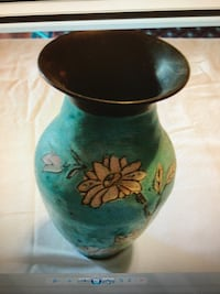 Painted Brass Vase