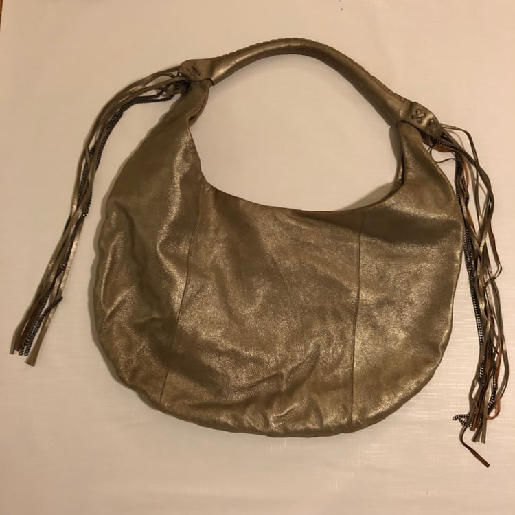 Juicy Couture Metallic Gold Large Leather Hobo Bag