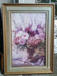 rectangular brown wooden framed painting of roses and lilies in vase Surrey, V3V 0A8