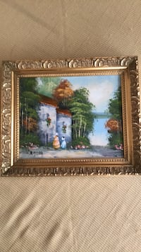 """Oil painting on canvas signed of landscape scene with gold frame measures 8"""" x 10"""" West Palm Beach, 33407"""