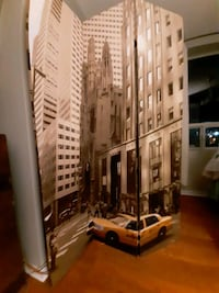 Room divider. New York City building scape.