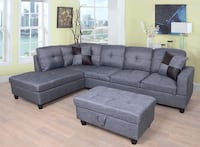 Grey linen material sectional with storage ottoman and pillow College Park