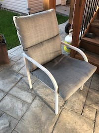 White metal framed gray padded armchair. I got 4 of them for sale, 20 each or best offer  Vaughan, L6A 3X1