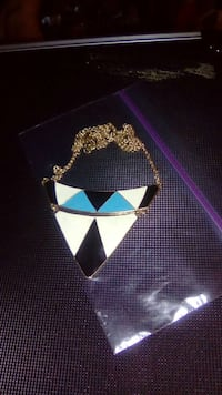 white black and blue pendant gold chain necklace
