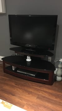 wood and glass tv stand,  Burlington, L7P 0C2