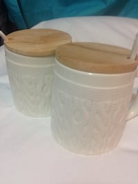 2 Mugs w/ wooden lids and spoons Hamilton, L9A 3S6