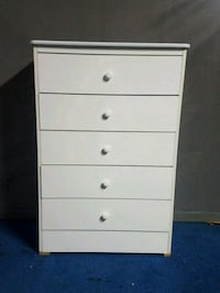 white wooden 5-drawer tallboy dresser Los Angeles, 90059