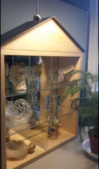 Wood display cabinet with mirror- miroir