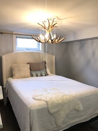 Modern Padded Headboard and Queen Bed Frame