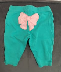 Baby girls 0-3 month pants with bow on rear