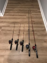 Three kids and two adult size fishing poles for sale.  Price is for all 5. 46 km