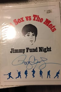 1986 Jimmy Fund Night Promo Red Sox Vs Mets Roger Clemens Autographed