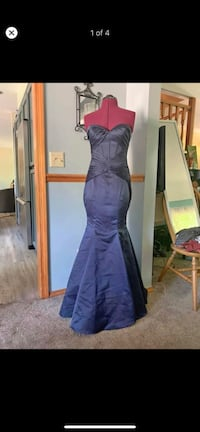 Long strapless satin gown