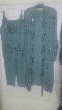 green and black floral long cardigan with pants