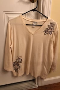 COLDWATER CREEK WOMENS KNIT TOP L/XL embroidered/excellent condition Bohemia, 11716