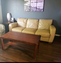 Leather sofa and coffee table
