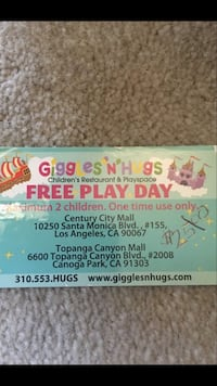 Giggle 'N' Hugs Free Play Day / One Time Use Only / Max. 2 Kids / Topanga Location Los Angeles, 90024