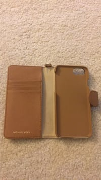 Michael Kors iPhone 6s Leather Folio Wallet Case w/Cards Slot Tan Brown Riva, 21140