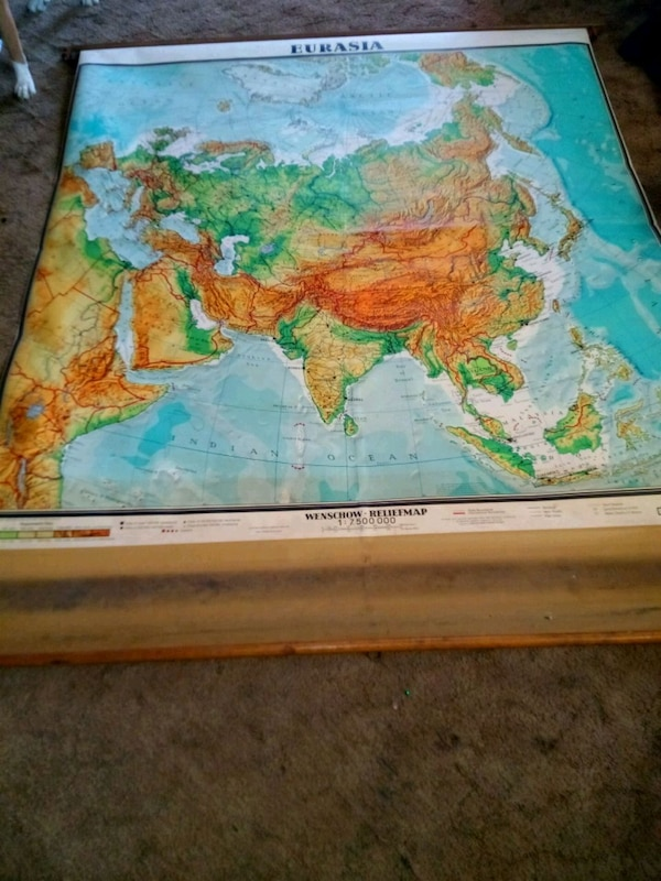 1966 West Germany pull down map big