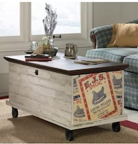 Rustic Coffee Table Storage Wood Chest Trunk Vintage Box Bench Aged White Alexandria, 22301