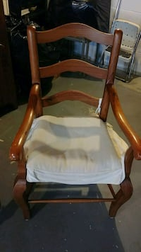brown wooden framed white padded armchair Toms River