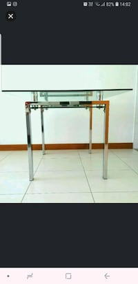 stainless steel framed glass top table Singapore, 540214