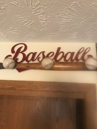 Baseball sign with bat and balls for hat rack