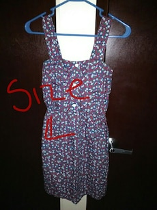women's blue, red and white floral sleeveless short dress