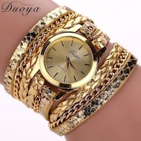 round gold-colored analog watch with link bracelet Summerfield