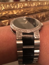 RounMovado Watch with Real Diamonds silver analog watch with silver link bracelet this watch it's gorgeous paid almost $1,300 plus tax and am only asking $775 cash only Santa Barbara, 93101