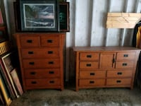 brown wooden tallboy and lowboy dressers
