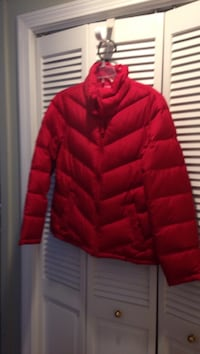 red zip-up bubble jacket, in excellent condition .
