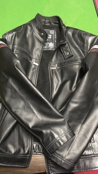 Faux leather zip up jack