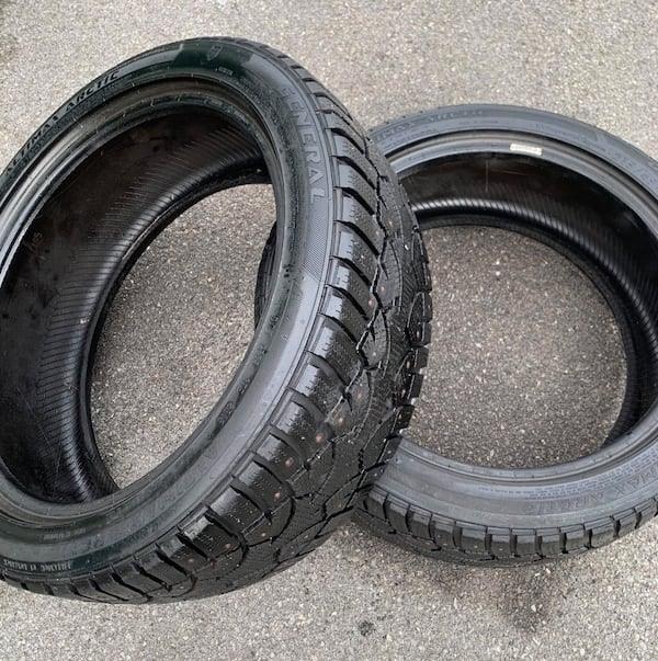 215/45 R17 General low profile Studded snow tire pair 65% tread 132af568-6945-49b8-a84e-e69ac292b131