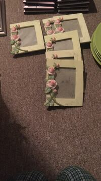 six pink rose flowers embossed white photo frames