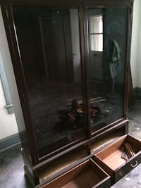 Antique Mahogany wooden framed glass cabinet Minneapolis, 55418