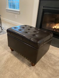 Tufted Storage Ottoman With Nailheads Faux Leather Brown - Threshold™ Burtonsville, 20866