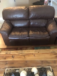 Brown leather 3-seat sofa with recliner and 2 seat love seat.  Jacksonville, 32202