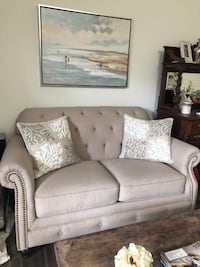 Beige Linen Tufted Loveseat 2250 mi