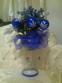 Glass centerpiece royal blue completely