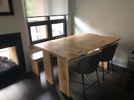 Custom white oak live edge dining table and bench
