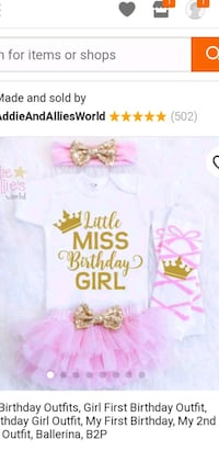 Baby Girls 1st Outfit, and 1st Birthday Decoration Grayson