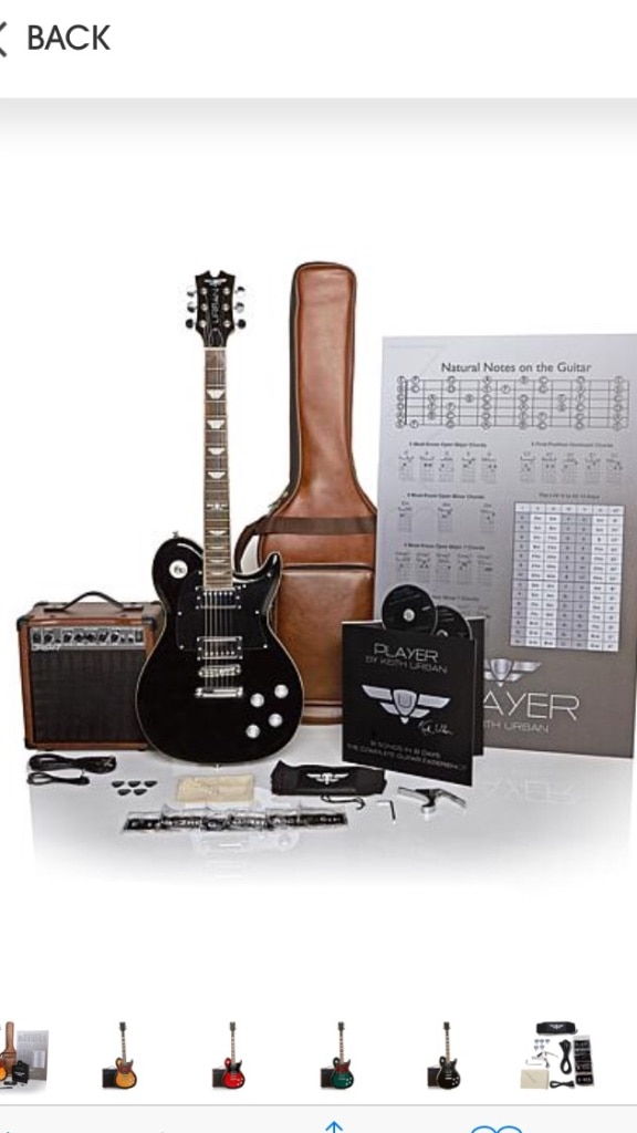 Brand New Rich Black Keith Urban 50 Piece Deluxe Player Solid Body Electric Guitar Package. Still in Box never opened.