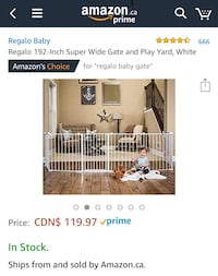 Regalo 192-Inch Super Wide Gate and Play Yard, White Mississauga, L5J 1N8